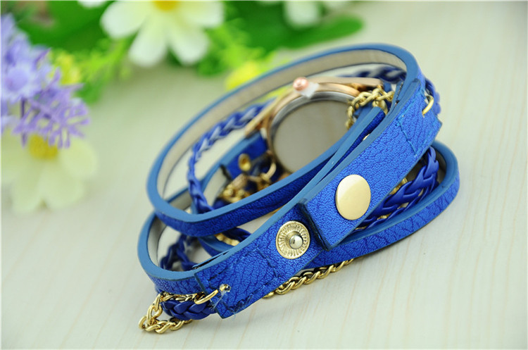 Women woven strap bracelet watch