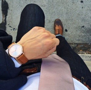 people with leather mechanical watch