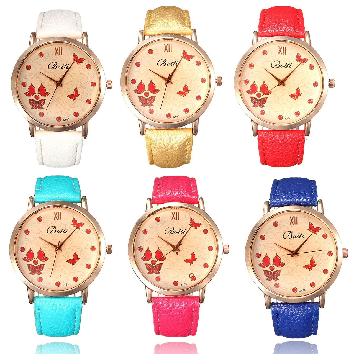 women butterflies wrist watch