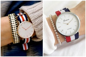 striped canvas band watch