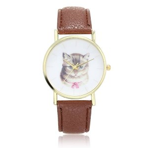 Women Cat Leather Watch