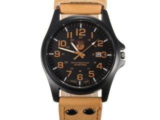 leather band wrist watch